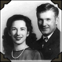 Daphne and Roy Tibbets, wedding photo 1944.
